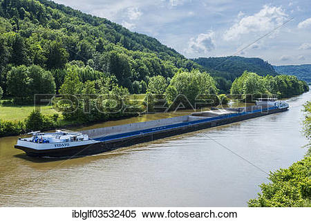 """Stock Image of """"Cargo ship on the Main."""