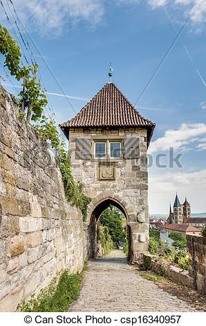 Stock Images of Neckarhaldentor in Esslingen am Neckar, Germany.