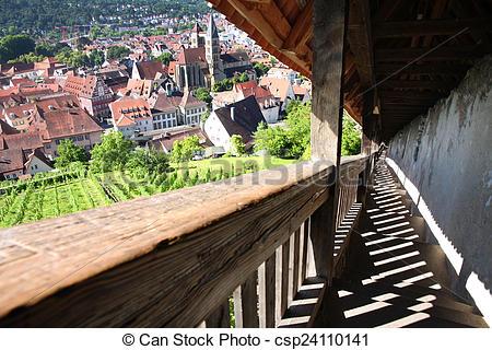 Stock Photo of Esslingen am Neckar views from Castle Burg near.