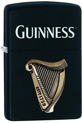 ZIPPO CHOICE GUINNESS Beer Harp Logo EST 1759 Black Matt.