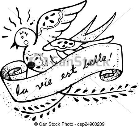 Vector Clipart of La vie est belle.