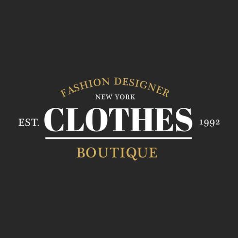 Illustration of boutique shop logo stamp banner.