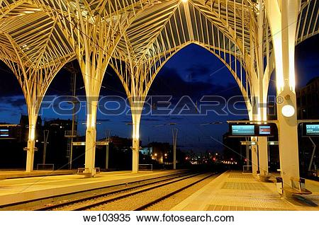 Stock Image of Gare do Oriente railway station by Santiago.