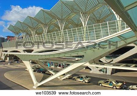 Stock Photograph of Oriente railway station by Santiagio Calatrava.
