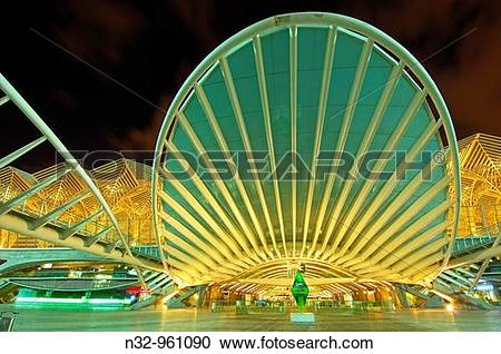 Stock Photography of Oriente railway station by Santiago Calatrava.