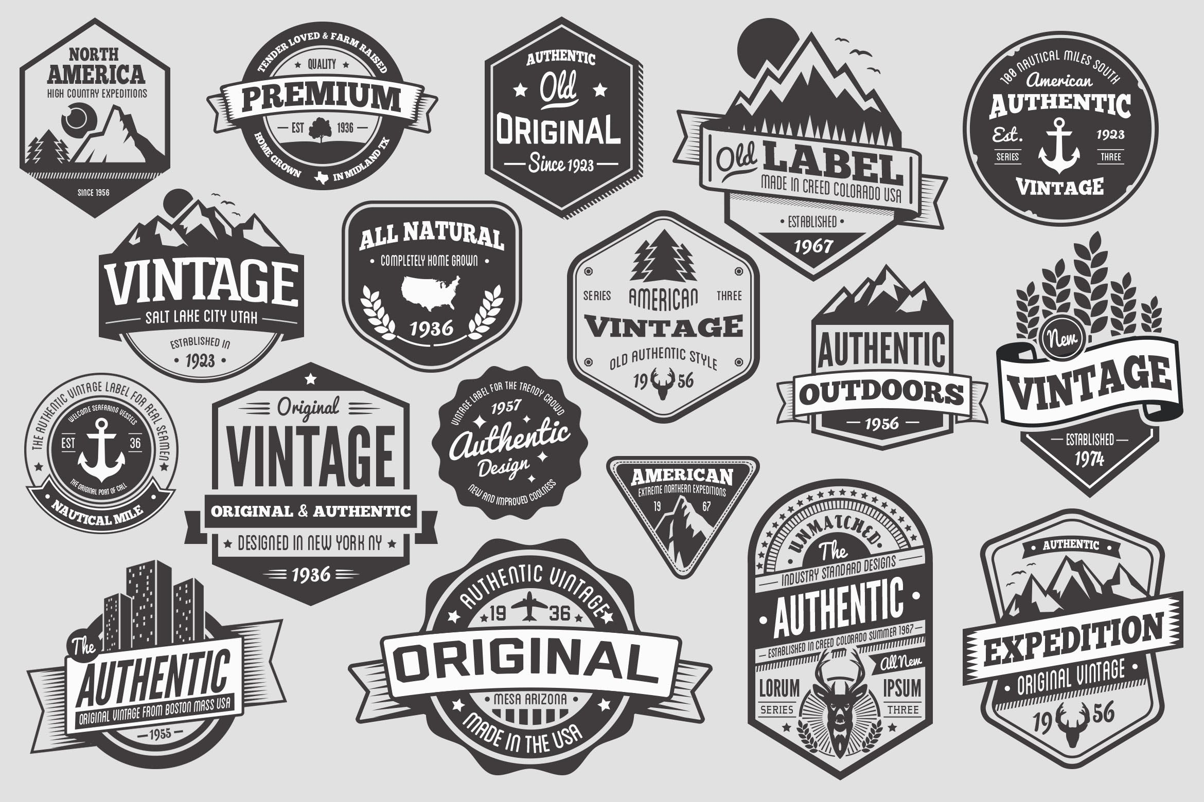 18 Vintage Badges and Logos by GraphicMonkee on Envato Elements.