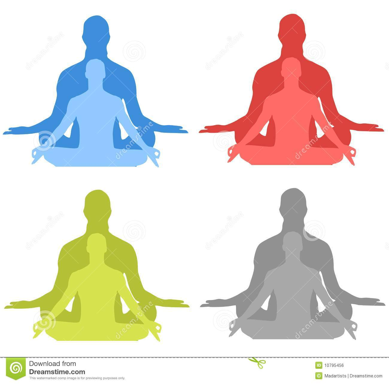 Meditation Silhouettes Royalty Free Stock Image.