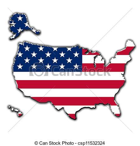 Clip Art de mapa, unido, estilizado, estados, América, contorno.