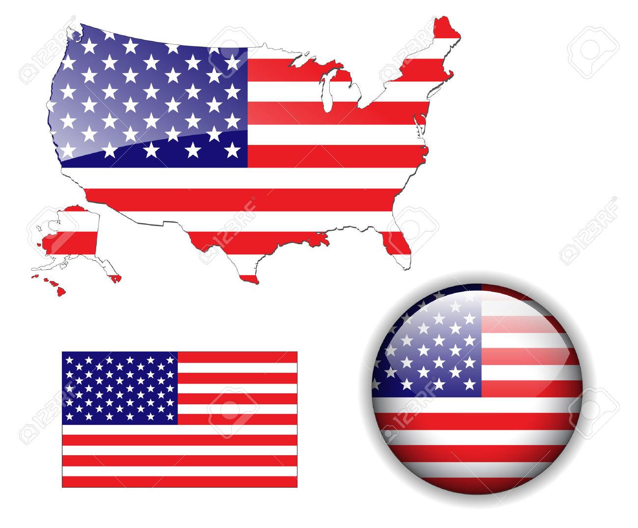 Botón De Bandera, Mapa Y Brillante De Estados Unidos De.