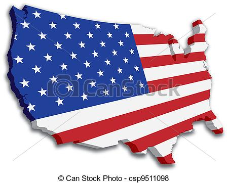 Vector of USA 3D State Flag map.