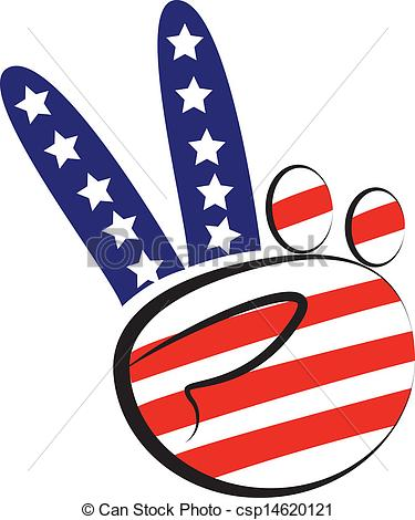 Vector Illustration of Hands peace symbol with usa flag colors.