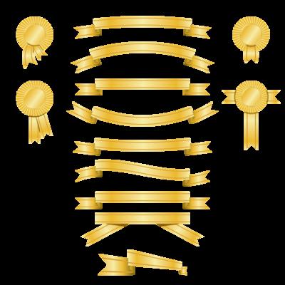 Estandarte de ouro e prêmio fita Pack, Clip Arts.