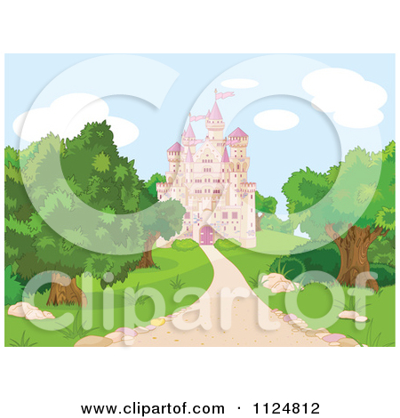 Cartoon Of A Pink Fairy Tale Castle And Grounds.
