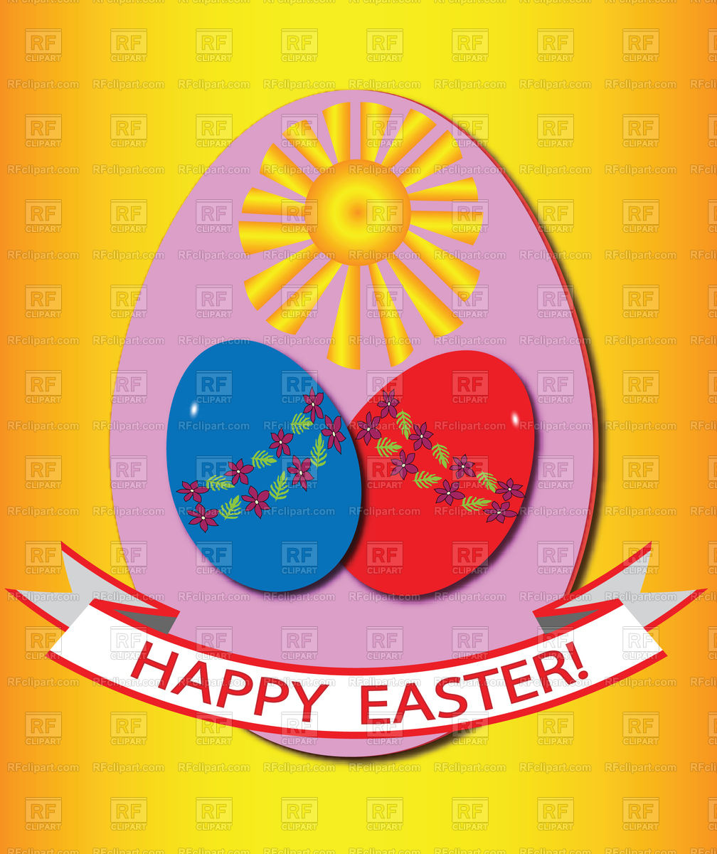 Ester card with coloured eggs, sun and greetings Stock Vector Image.