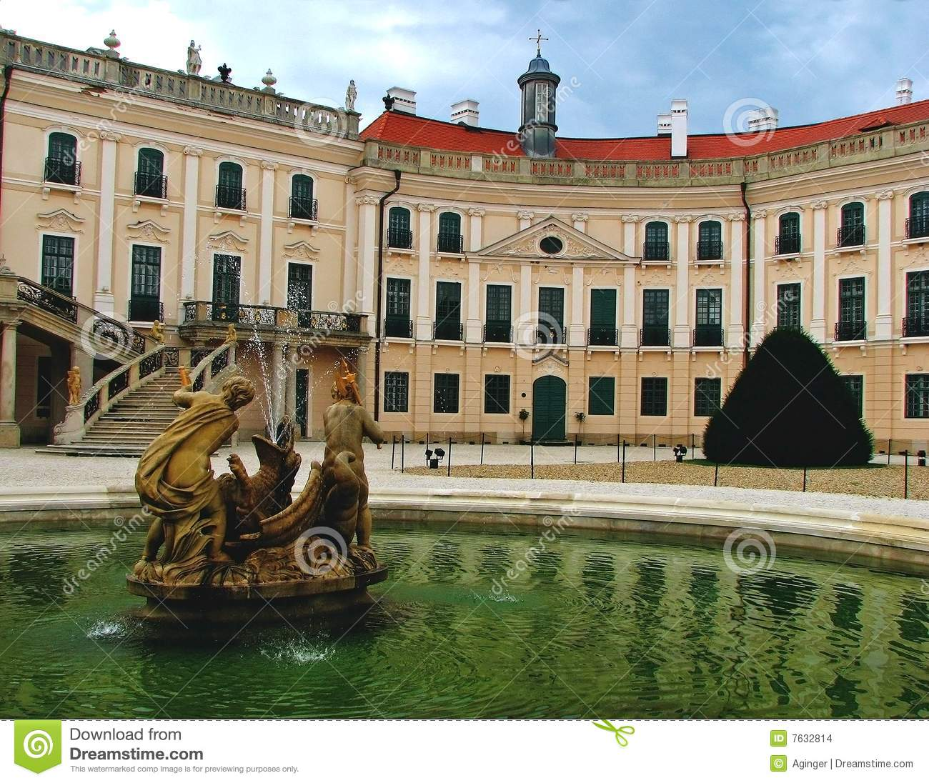 Esterhazy Castle With Fountain Stock Images.