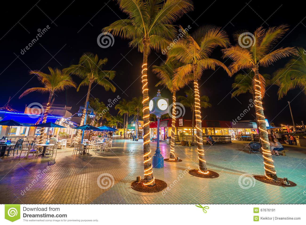 Fort Myers Beach Time Square At Night Editorial Photo.
