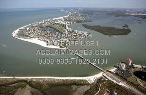 Aerial Stock Photo of Estero Island, Fort Myers Beach, Black.