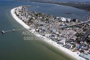 Aerial Stock Photo of Estero Island, Fort Myers Beach, Florida.