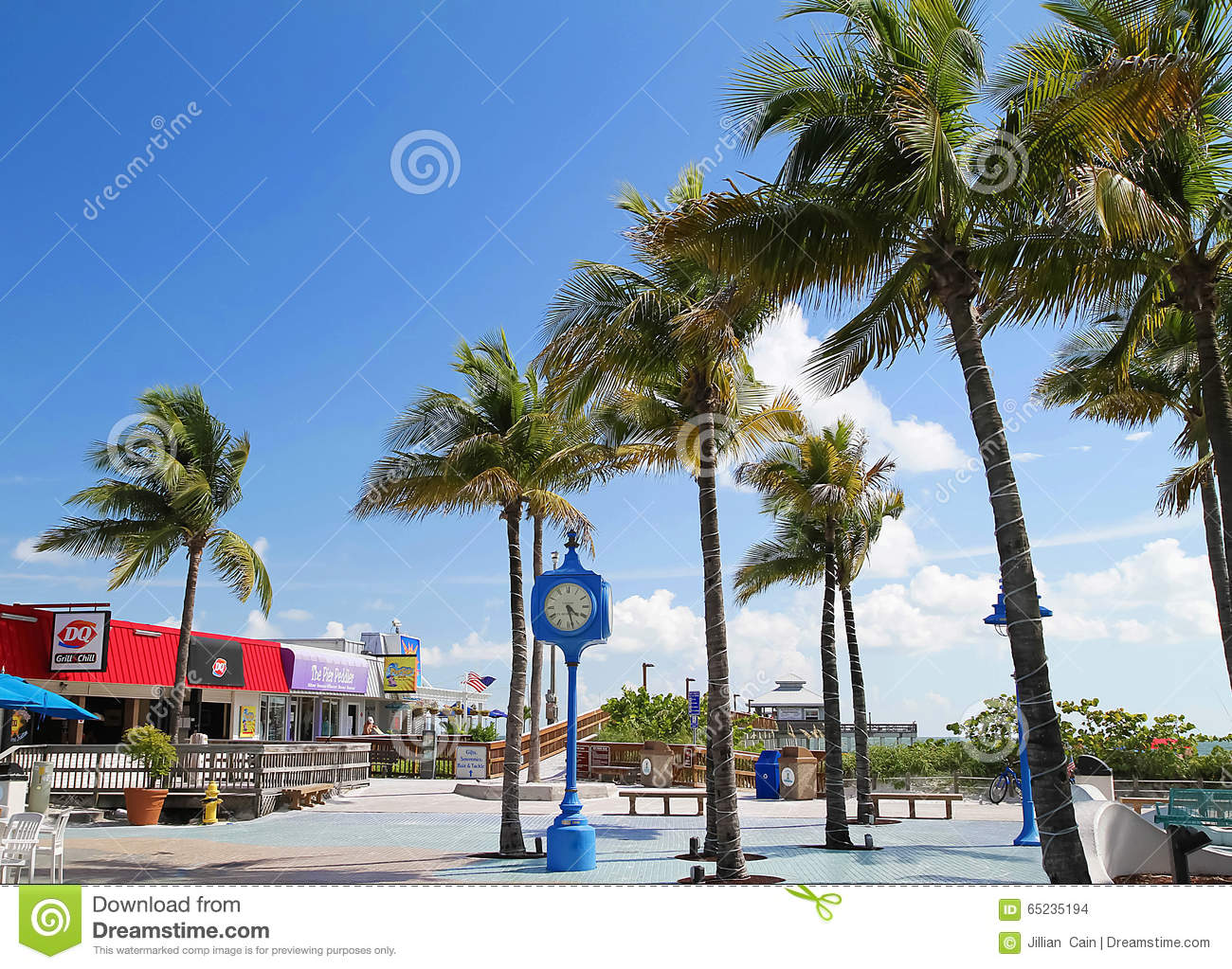 Times Square Clock, Estero Island, Florida Stock Photo.