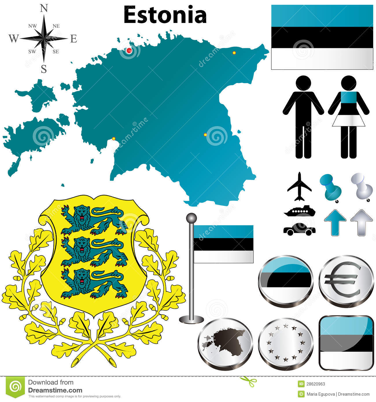 Estonia Map Stock Photos.
