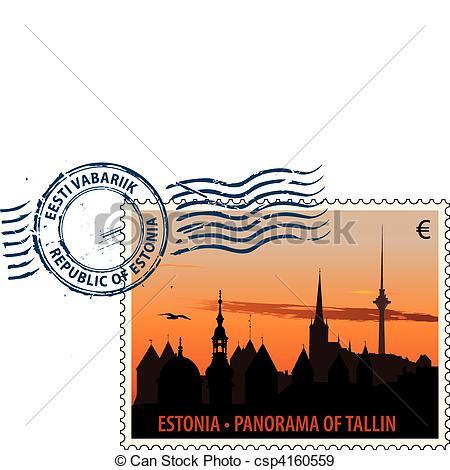 EPS Vektoren von Poststempel, Estland.