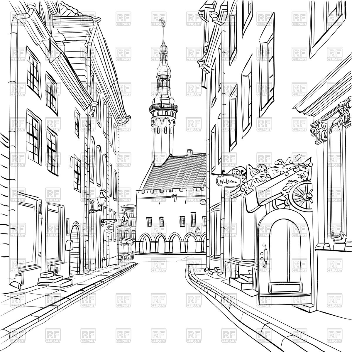 Picturesque view of old town, Tallinn, Estonia Vector Image #94561.