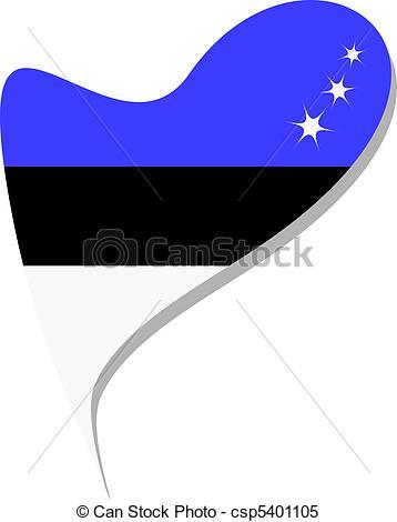 Clipart Vector of Estonia in heart. Icon Estonia flag.