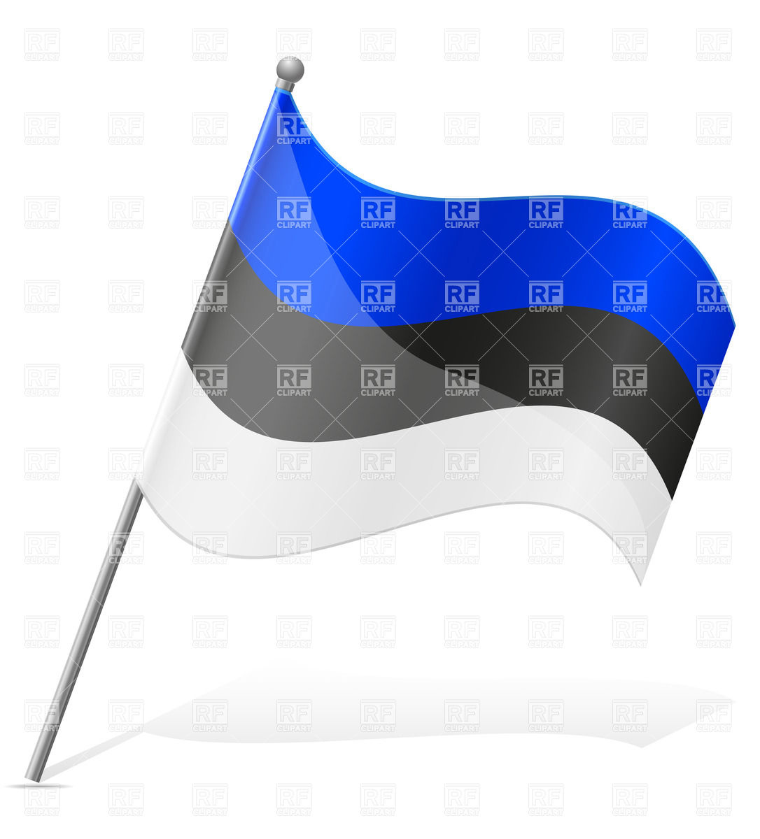 Icon of wavy flag of Estonia isolated on white background Vector.