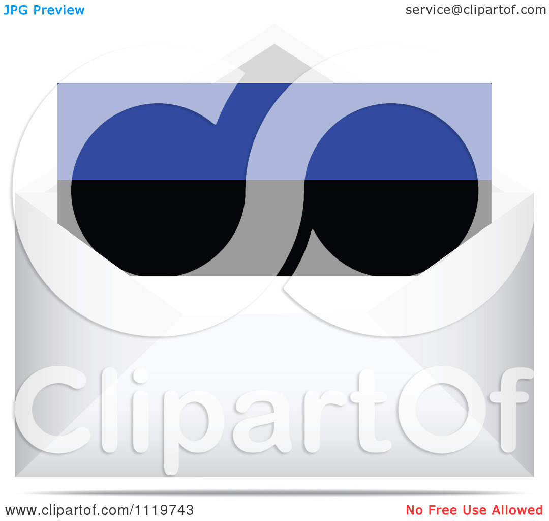 Clipart Of An Estonian Letter In An Envelope.