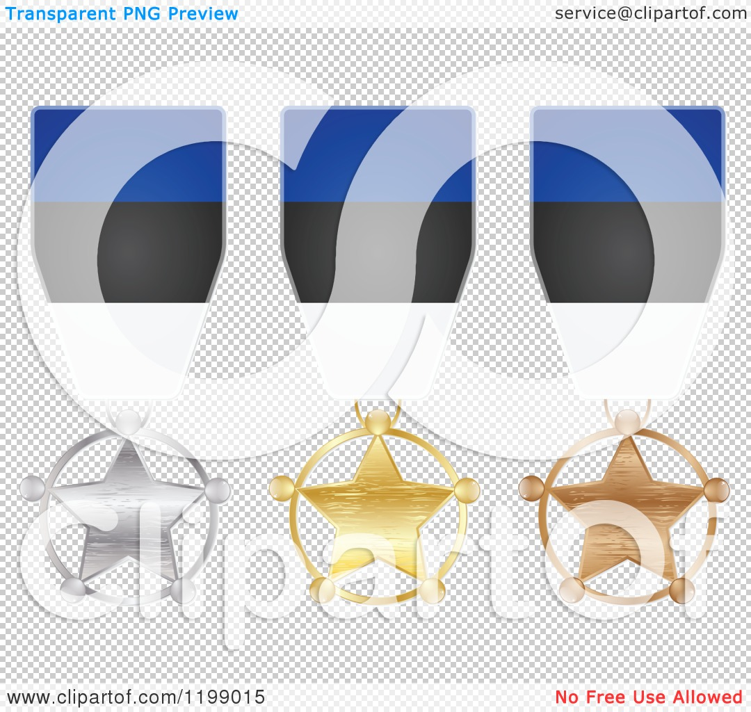 Clipart of Silver Gold and Bronze Star Medals with Estonian Flag.