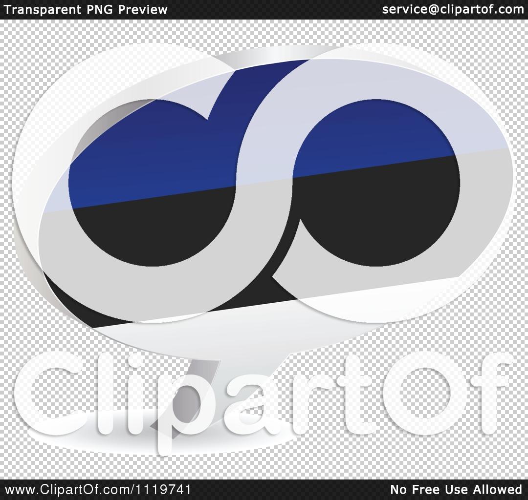 Clipart Of A 3d Estonian Flag Chat Balloon.