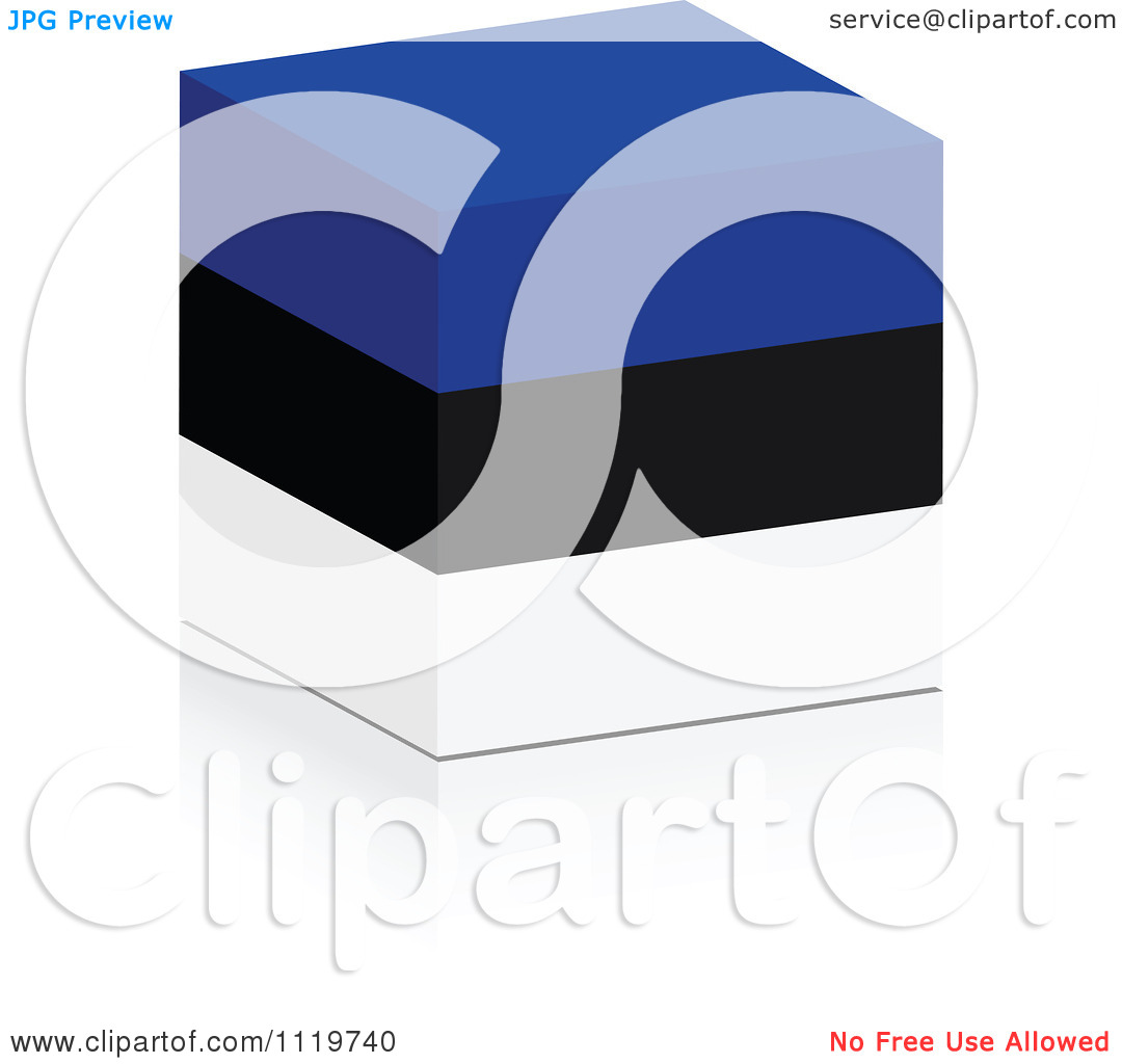 Clipart Of A 3d Estonian Flag Cube With A Reflection.