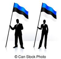 Clipart Vector of Estonian waving Flag. Vector illustration Eps 8.