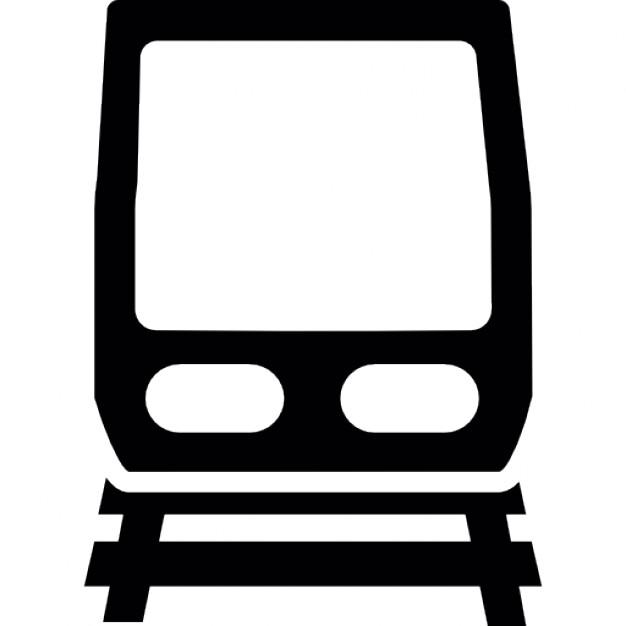 Frente do trem e da estrada de ferro.