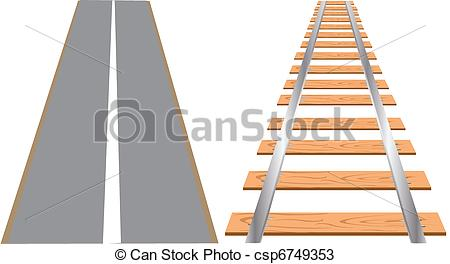 Vectors of Railway and road for cars.
