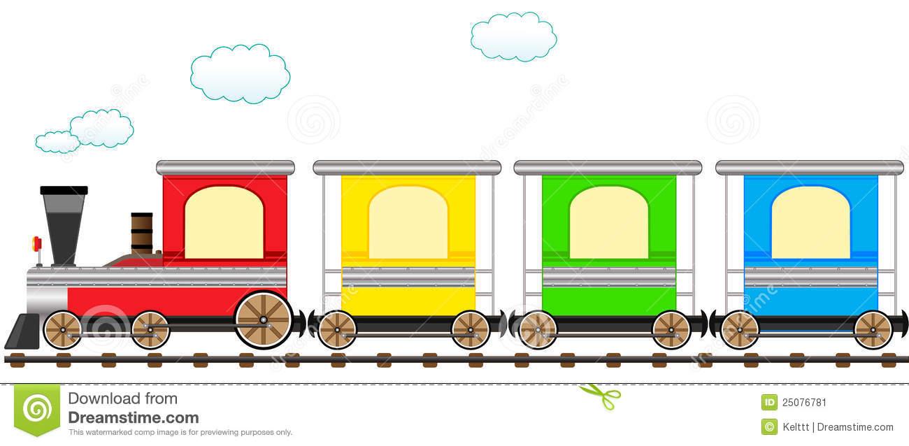 Trem Colorido Bonito Dos Desenhos Animados Na Estrada De Ferro.