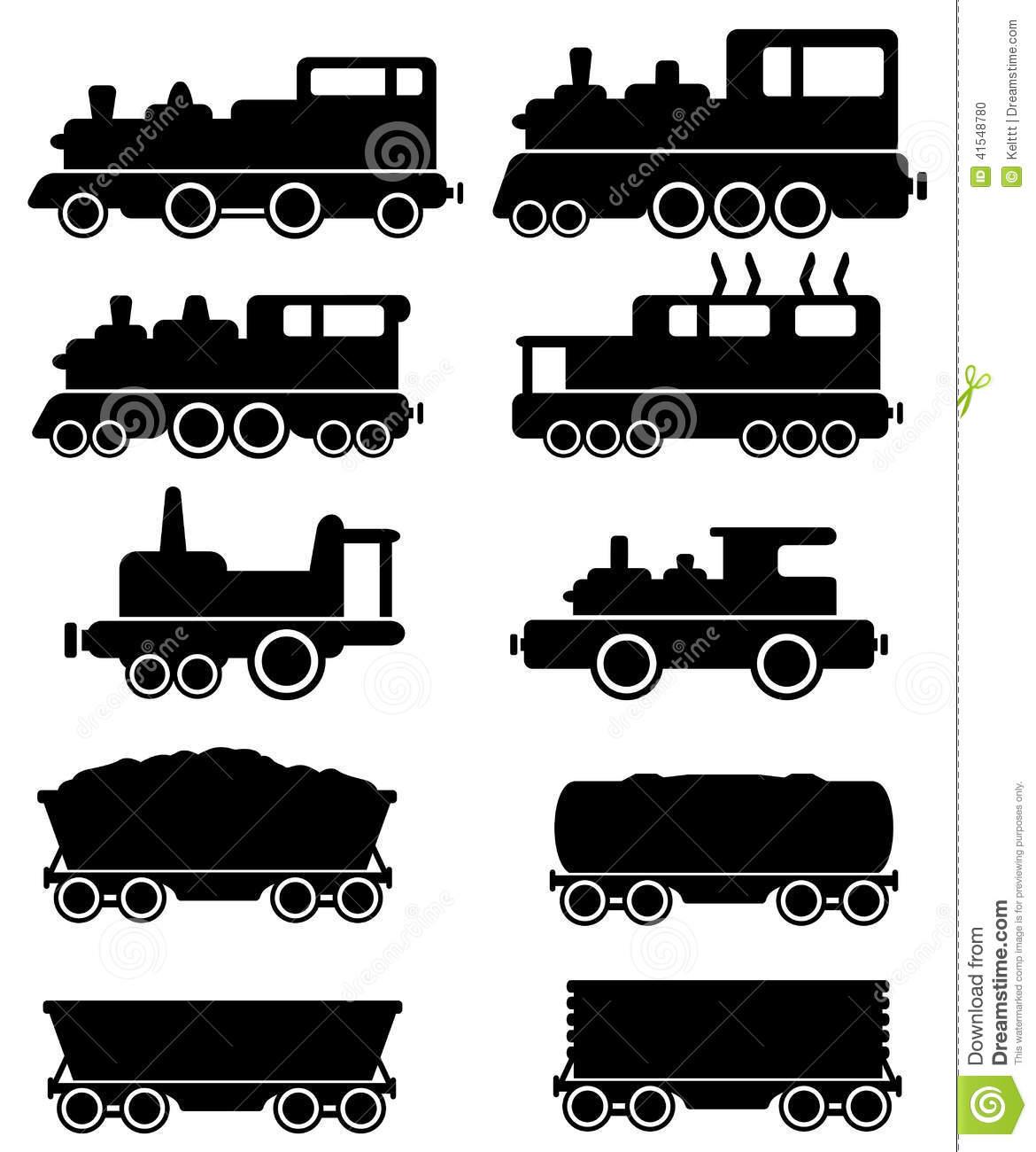 Carro Ajustado Do Trem E De Estrada De Ferro Ilustração do Vetor.