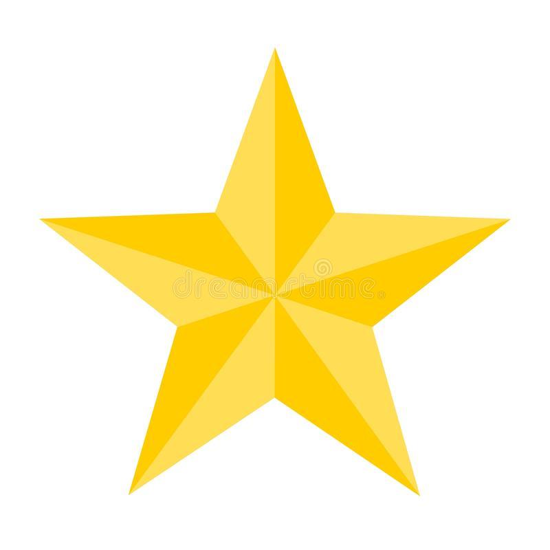 Estilo Liso Da Estrela Dourada Bonita Ilustração do Vetor.