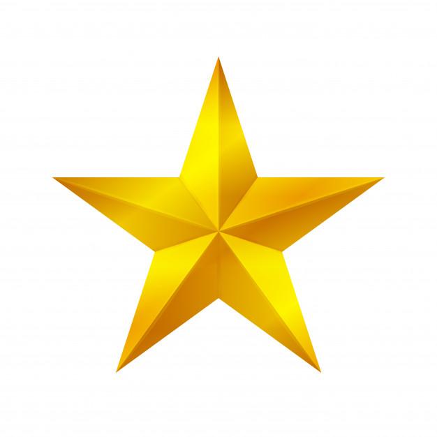 Forma de estrela de ouro isolada no fundo branco, ícone de estrela.