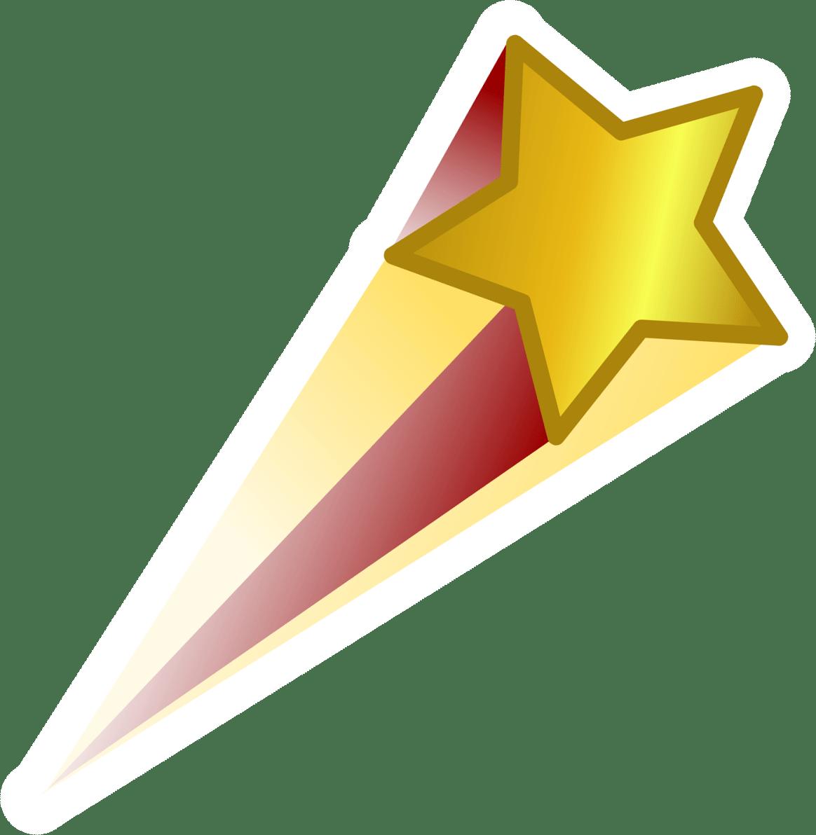 Estrella Fugaz Roja y Dorada PNG transparente.