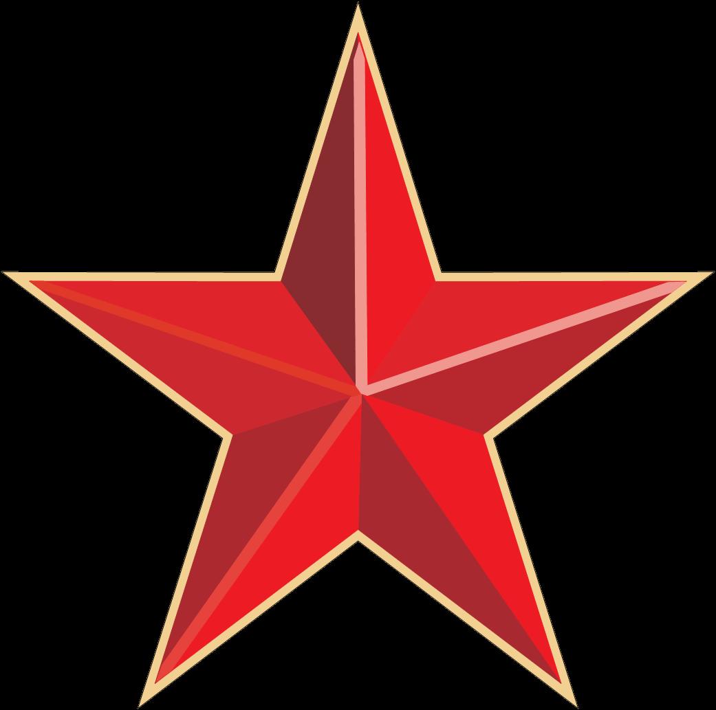 Estrella Roja y Dorada PNG transparente.