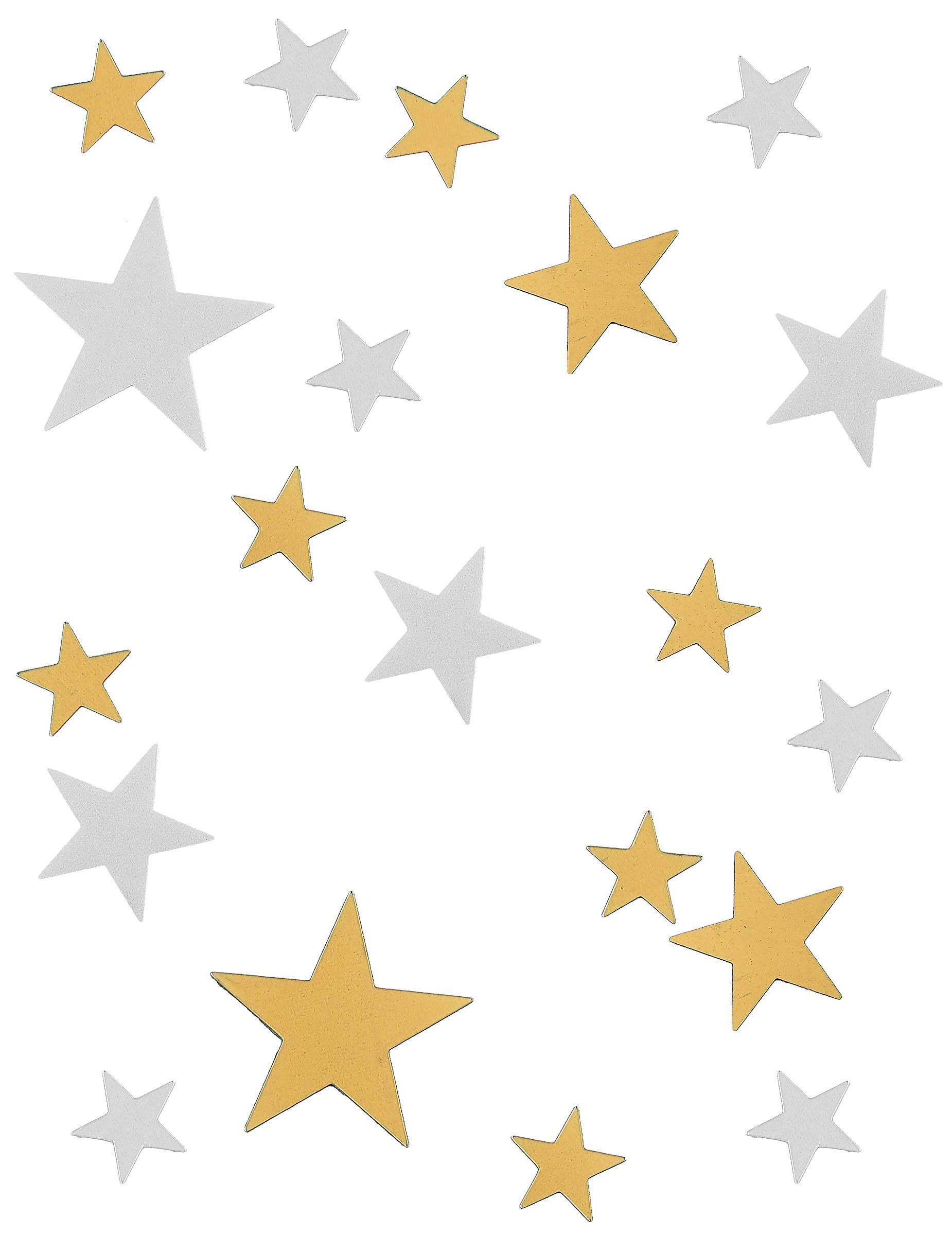 Confetis estrella dorado y blanco.