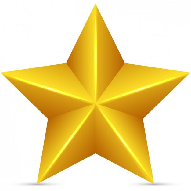 Estrella dorada en 3d.