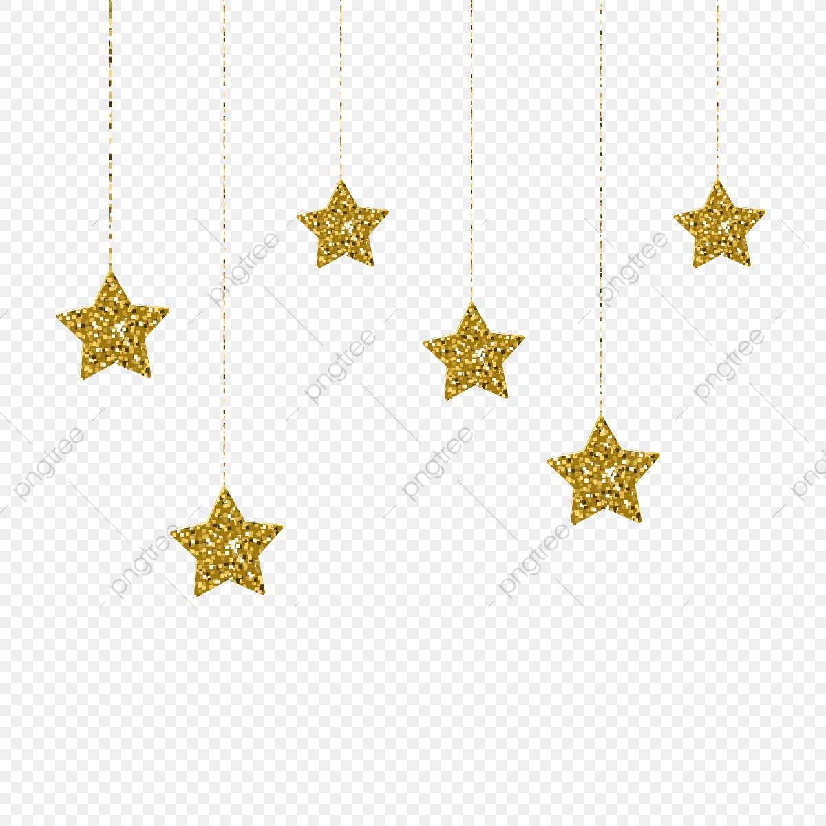 Elegante Estrellas Doradas Colgando De Ilustración Vectorial.