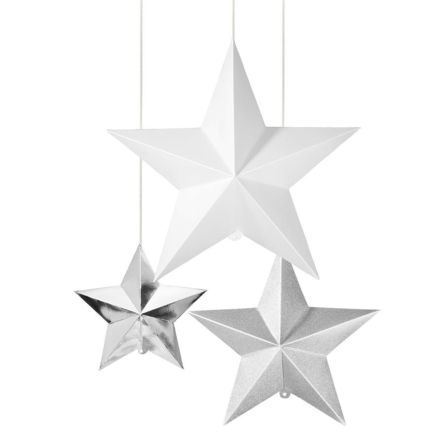 Set de 3 estrellas decorativas.