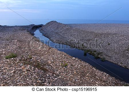 Stock Photography of mouth (estuary) of small river into Black Sea.