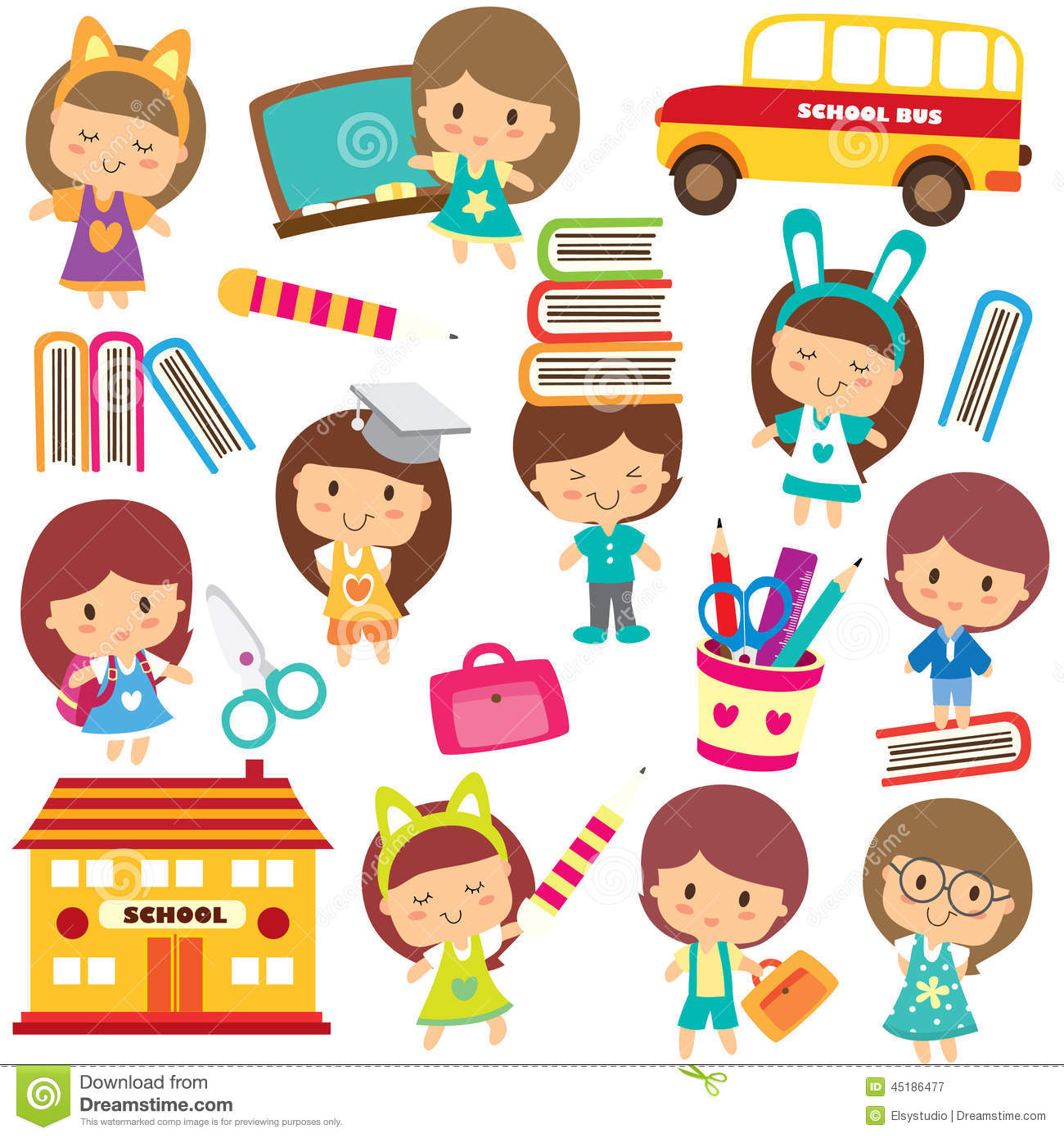 Happy students clip art stock vector. Illustration of collection.