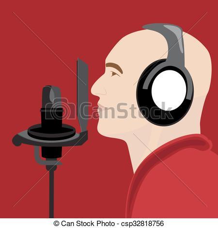 Un hombre en un estudio de grabación. Ilustración de.
