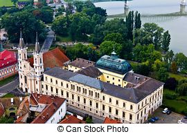 Stock Photographs of Castle in Esztergom from Hungary with blue.