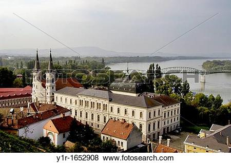 Pictures of Hungary, Esztergom, the Jesuit Church and the ?Danube.
